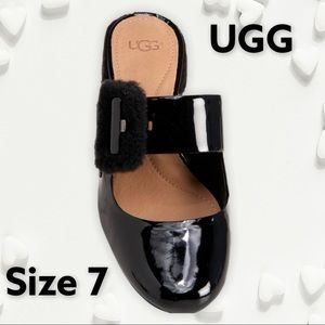 UGG Hayden Faux Fur & Patent Leather Mary Jane 7